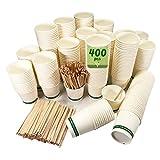 400 vasos desechables café blancos de 120 ml, vasos de cartón blanco desechable con paletinas de madera para café. Para bebidas frías y calientes.