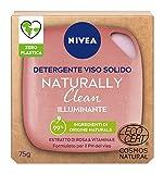 NIVEA Detergente Viso Solido Naturally Clean Illuminante Estratto Di Rosa E Vit.e 75gr