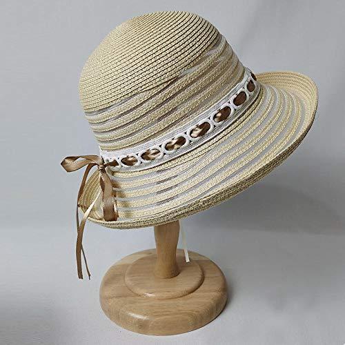 Sombreros De Paja Gorra De Mujer Sombrero para El Sol para Mujer Bucket Beach Sombrero para El Sol Señoras Flat Satin Wedding Hat Roll Cap-Beige