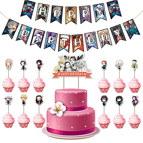 LLMZ Demon Slayer Thema Party Dekoration Set, Demon Slayer Geburtstagsfeierzubehör inkl Geburtstagstorte Topper,Geburtstag Banner Anime Manga Thema