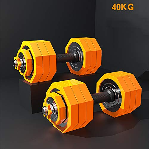 QYBAMZLD Coppia di Manubri Regolabili, Peso Mobile 10-50 kg Bilanciere Ottagonale A Doppio Uso, Manubrio Dimagrante Fitness Senza Rotolamento Domestico,50kg