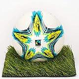 BALLDESIGNER - Ballon de Football Fairtrade Star - Issu du Commerce Équitable - Qualité Supérieure - Cousu Machine - Revêtement Polyuréthane - Vessie en Butyle - Blanc, Jaune, Bleu - Taille 5