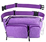Fanny Pack for Women & Men Waist Bag Hip Bum Bag, Strap Extension Large Capacity Easy Carry Any Phone, Passport, Wallet, for Outdoors Workout Traveling Casual Running Cycling (Purple)