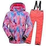 LSHEL Traje de esquí para niños, 2 Piezas, Chaqueta de Snowboard con Capucha y Tirantes para niños, Otoño-Invierno, Niños, Color Rosa Top+ Orange Hose, tamaño 110 cm