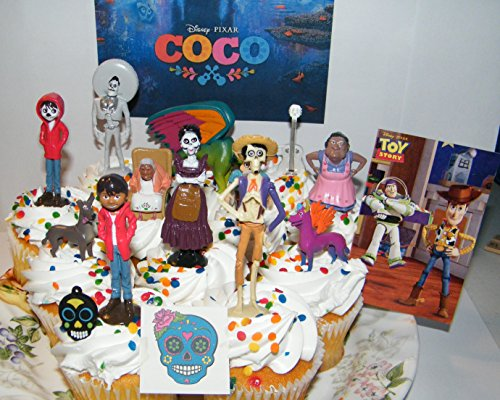 B.B. Inc Disney Coco Movie Deluxe Cake Toppers Cupcake Decorations Set of 15 with 12 Figures, Charm, Tattoo and Sticker Featuring Miguel, Mama Imelda, Spirit Guide and More!