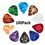 Haneye 100 Pcs Guitar Picks Variety,Colroful Premium Celluloid Picks for Acoustic Electric Guitars Bass or Ukulele,with Different Sizes...