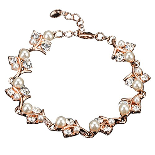 Hanessa Joya para mujer elegante pulsera chapada en oro rosa con piedras de cristal, regalo de Navidad para la esposa / novia / mujer