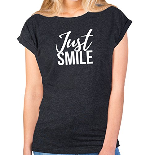 JUNIWORDS Damen T-Shirt -'Just smile' - große Auswahl an Motiven - Größe: S - Farbe: Anthrazit