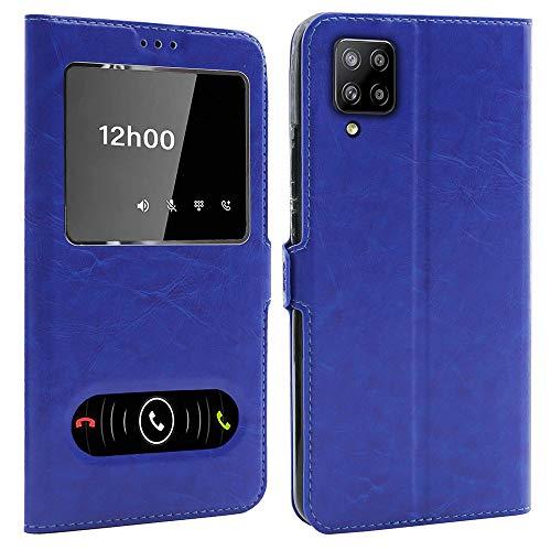 Ceka Tech Schutzhülle mit Sichtfenster für Samsung Galaxy A42 (6,5 Zoll), Blau