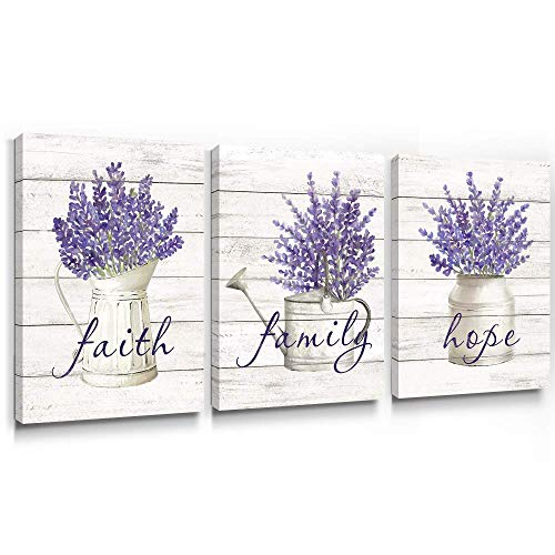 Takfot Inspirational Wall Art Farmhouse Floral Pictures Canvas Home Decor Framed Purple Flower Artwork Faith Family Hope Quotes for Bathroom Bedroom Living Room Kitchen 12x16 Inch, 3 Panels