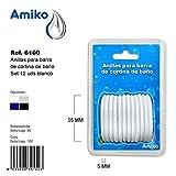 Anillas para Barra de Cortina de Baño Set 12 Unidades Blanco Amiko