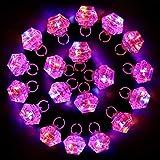 BELLE VOUS Anillos de Luz LED Intermitente (20 Piezas) - Flashing LED Light Finger Ring for Niñas y Adultas - Anillos de Diamante Bling para Cumpleaños, Despedida de Soltero y Discoteca