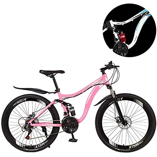 ZHIPENG Mountain Bicycle, 26 Inch Hardtail Mountain Bike, Dual Suspension Frame and Suspension Fork All Terrain Mountain, 21 Speed,Pink