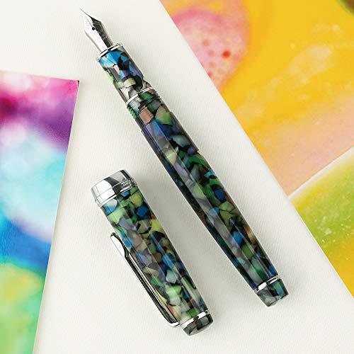 Neuer Füllfederhalter Newmoon 2 Edelsteingrün Acrylharz Iridium Ef/F/Small Gebogener Schreibstift Geschenkset Für das Büro