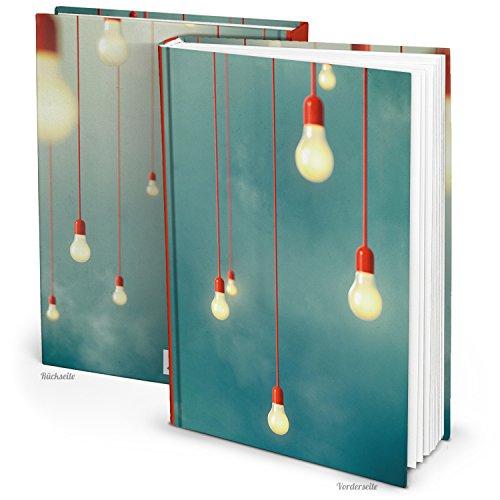 Logbuch-Verlag Cuaderno XXL DIN A4, diseño de bombilla retro, libro en blanco, diario grande, regalo de cumpleaños, Navidad, libro en blanco, páginas para colorear