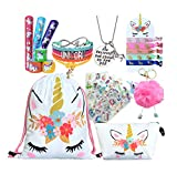 Unicorn Gifts for Girls - Unicorn Drawstring Backpack/Makeup Bag/Bracelet/Necklace/Hair Ties/Keychain/Sticker (White Flower)