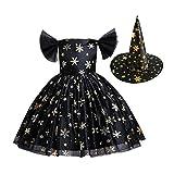 Vestido de princesa para niña, disfraz de Halloween, fiesta de baile, disfraz de copos de nieve, sombrero para niña, festivo, de 1 a 10 años de edad., Negro , 150 cm