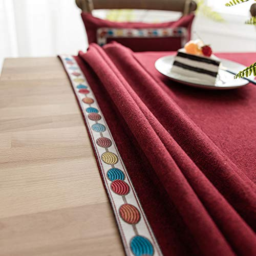 WSJIABIN Home Decoration Tablecloth Nordic Style Solid Color Waterproof Tablecloth Tablecloth Imitation Cotton and Linen Rectangular Embroidered Tablecloth