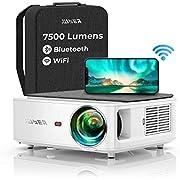 Proyector WiFi Bluetooth 1080P, YABER V6 7500 Proyector WiFi Full HD 1920x1080P Nativo Soporta 4K, Ajuste Digital de 4 Puntos, Proyector Portátil Zoom -50%, Proyector LED para Cine en Casa y PPT