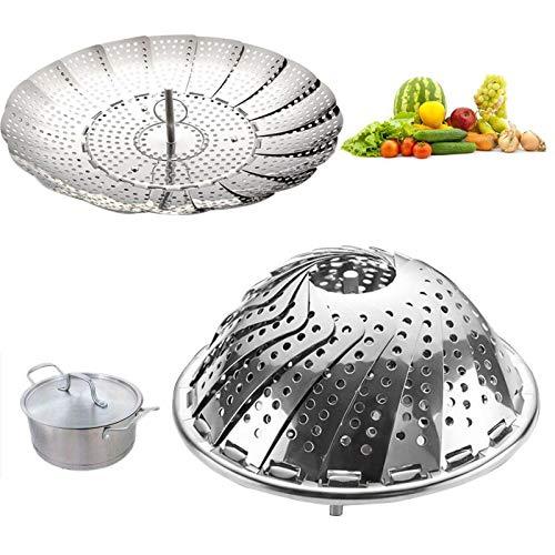 Cooker Rijst - Kookgerei Vouwschaal Stoom RVS Voedsel Mand Mesh Groente Vapor Cooker Steamer - Keuken Acryl Zwart RVS Paraplu Sieraden Tijger Decker Kookmand Ste