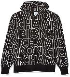 Champion Men's Reverse Weave Po Hood AOP, Big Block Text Outline black, Medium