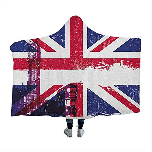 dsdsgog Wearable Sleeping Blankets Union Jack,Grungy Aged UK Flag Big Ben Double Decker Country Culture Historical Landmark, Multicolor Soft Blankets for Kids 50 x 40 Inch
