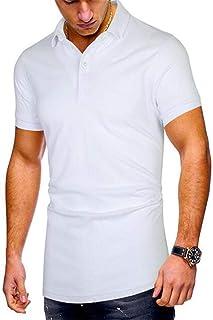 La Solapa De Los Hombres De Verano Color SóLido Suelta Casual De Negocios De Manga Corta Camiseta Polo Camisa