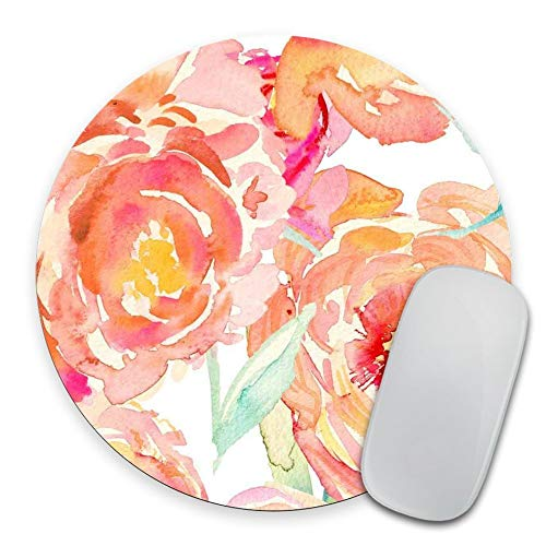 Coseevel 2530 Peach Peony Circle Mouse Pad Mousepad Coworker Teacher Gift Floral Print Watercolor Flowers