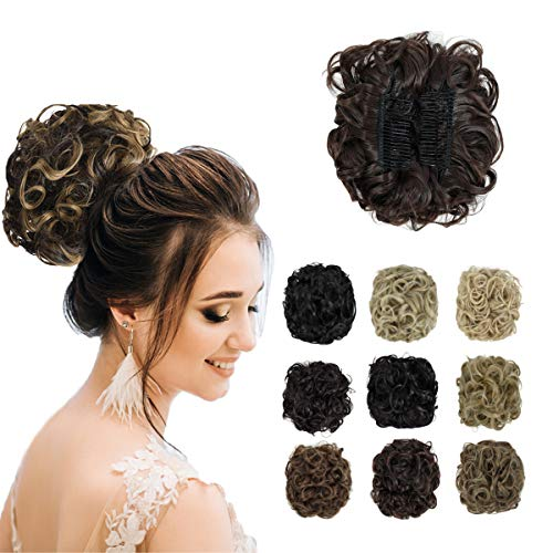 Yamel Messy Curly Hair Bun Extensions Combs Clip in Bun Stretch Chignon Updo Hairpiece Scrunchie Chocolate Brown