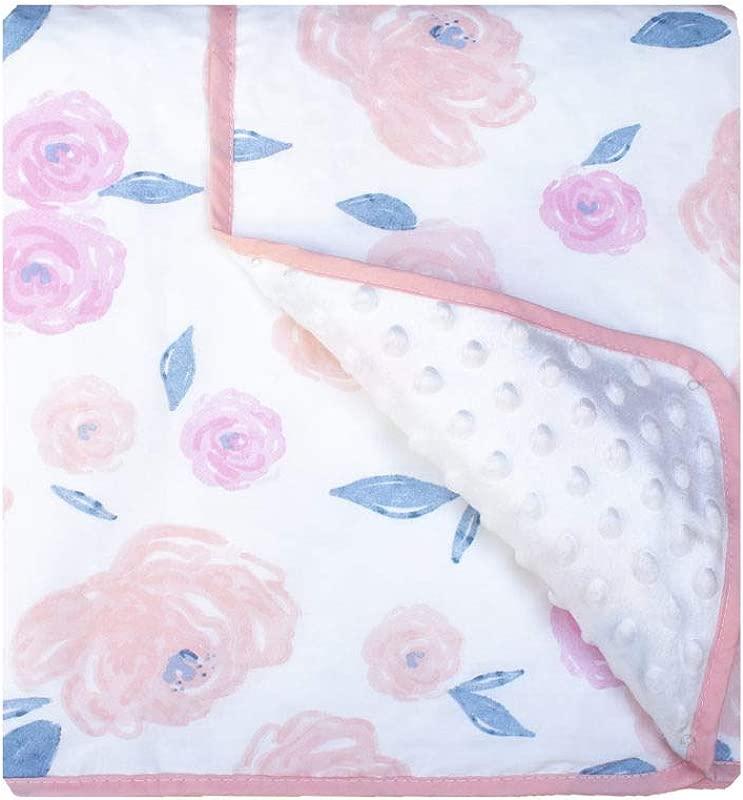 Pam Grace Creations Vintage Rose Watercolor Baby Blanket Pink
