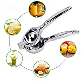 Lemon Squeezer, Kmeivol Quality Stainless Steel Lime Squeezer, Heavy Duty Solid Metal Citrus Squeezer, Lemon Juicer for The Most Juice Possible, Hand Juicer, Dishwasher Safe Manual Juicers, Silver
