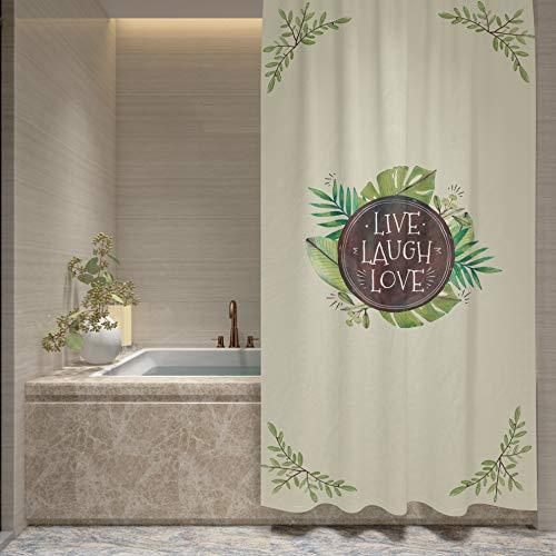 Dekali Designs Rustikaler Duschvorhang mit Zitat – 182,9 x 182,9 cm Live Laugh Love Duschvorhang für Ihr Badezimmer (Landhaus/Bauernhaus/Hütte/Herbst/Western-Motiv)