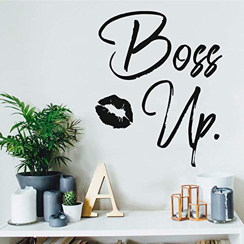 Vinyl Wall Art Decal - Boss Up - 21' x 17' - Trendy Motivational Women Quote Kiss Shape Sticker for Home Bedroom Closet Girls Room Apartment Work Office Decoration (Black)