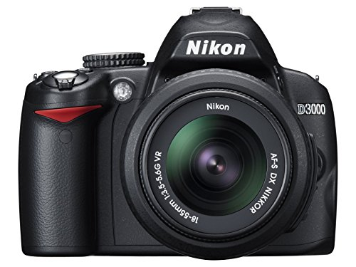 Nikon D3000 Digital SLR Camera with 18-55mm VR Lens Kit (10.2MP) 3 inch LCD (Renewed)