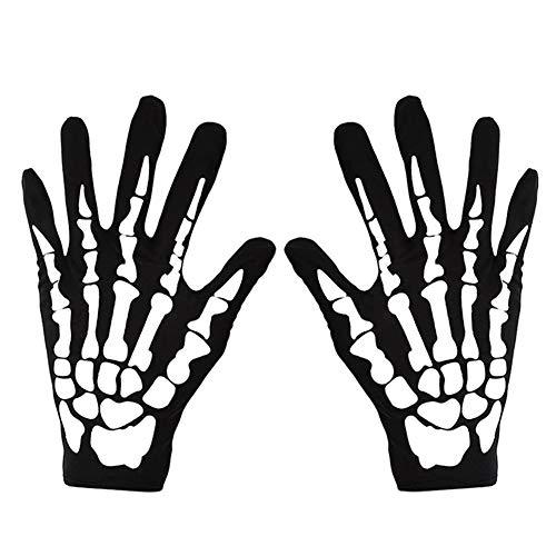 YUIP 2Pcs Weißes Skelett Handschuhe,Skelett Handschuhgröße,Cosplay Kostüme für Erwachsene Halloween Tanz Costume Party (Schwarz + Weiß)