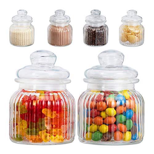 Relaxdays Vorratsgläser 6er Set, 700 ml, Deckel, für Lebensmittel in Küche, Hochzeit Candy Bar Zubehör, luftdicht, klar