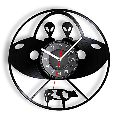 Secuestro aeroespacial Vaca Disco de Vinilo Reloj de Pared platillo Volador Nave Espacial decoración del hogar Reloj astronomía Ciencia ficción Arte