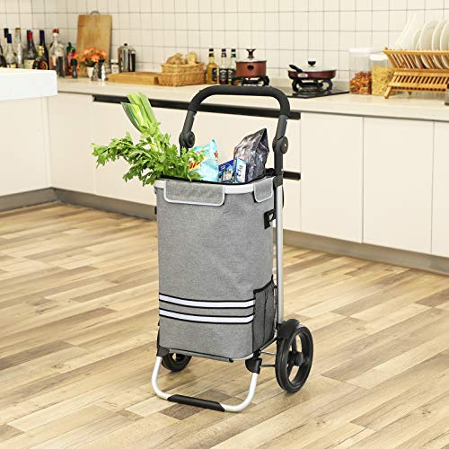 SONGMICS Shopping Cart, Shopping Cart, Foldable, with Cooler Bag, Versatile, Removable Bag, Wheels, Solid, Gray KST02GY