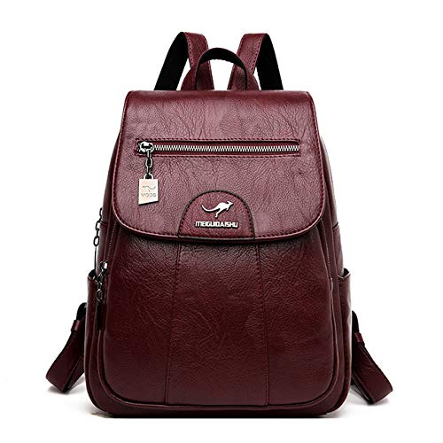 1 pcs Women Leather Backpacks High Quality Female Vintage Backpack for Girls School Bag Travel Bagpack Ladies Backpack Back Pack,Wine red,26 * 12 * 32cm