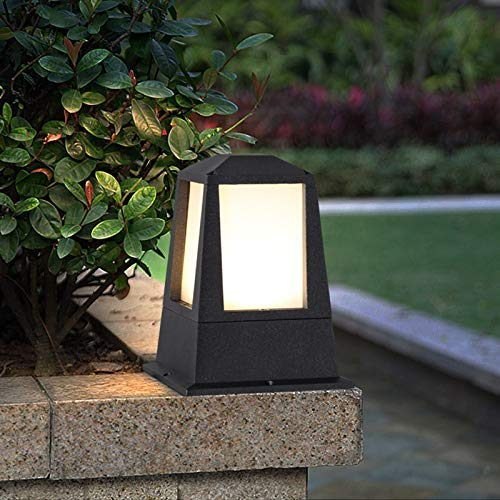 ZZTX Lámpara de Pilar de luz de Columna Cuadrada para Exteriores, Impermeable IP65, Color Negro, Aluminio, Metal, Luces Decorativas para Postes, para Parques, Comunidad, césped, Patio, jardín, Vi