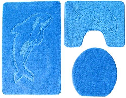 Ilkadim Delphin Badgarnitur 3 TLG. Set 55x85 cm einfarbig, WC Vorleger mit Ausschnitt für Stand-WC (hellblau)