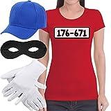 Panzerknacker Banditen Bande Kostüm Shirt + MÜTZE + Maske + Handschuhe Frauen T-Shirt Slim Fit...