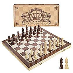 professional Numerous 15-inch magnetic wooden chess sets – two additional queens – foldable boards, portable handmade…