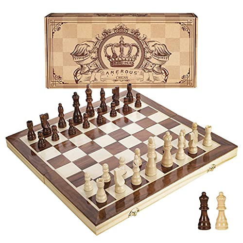 Amerous 15 Inches Magnetic Wooden Chess Set - 2 Extra Queens - Folding...