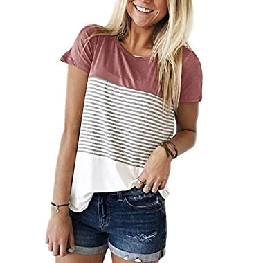 FOMANSH Women's Tops Short Sleeve Round Neck Striped Color Block T-Shirts Casual Blouse(Red,Small)