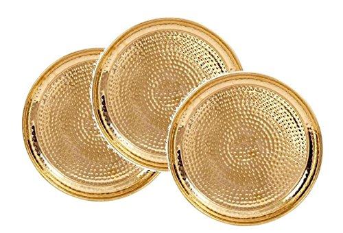 INDIAN CRAFTIO Brass Hammered Dinner Plate -Set of 3