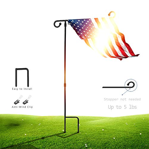 """SSRIVER Garden Flag Stand Pole Holder with Anti-Wind Clip 35.5"""" H x 17.5"""" W for Premium Metal Wrought Iron Powder Coated Weather-Proof Paint Steel (Black FlagPole- 1)"""