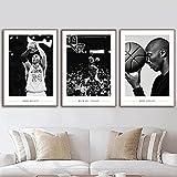 HNZKly Kobe Bryant Michael Jordan Pared Arte Famosos Baloncesto Estrella Poster Negro Blanco Estampados Deportes Pinturas Atleta Cuadro NiñOs Sala Decoracion 50x70cmx3 Sin Marco