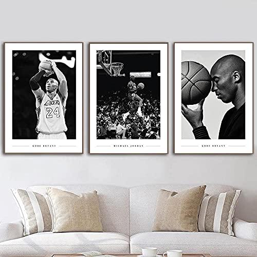 HNZKly Kobe Bryant Michael Jordan Pared Arte Famosos Baloncesto Estrella Poster Negro Blanco Estampados Deportes Pinturas Atleta Cuadro NiñOs Sala Decoracion 40x55cmx3 Sin Marco