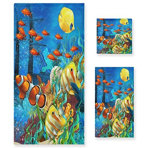 Pac Mac Juego de toallas de algodón de 3 piezas, diseño de arrecifes de coral y peces del océano, supersuaves (1 toalla de baño, 1 toalla de mano, 1 toalla) para baño, hotel y spa